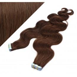 Vlasy pre metódu Tapex / Tape Hair / Tape IN 50cm vlnité - stredne hnedé