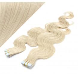 Vlasy pre metódu Tapex / Tape Hair / Tape IN 50cm vlnité - platina