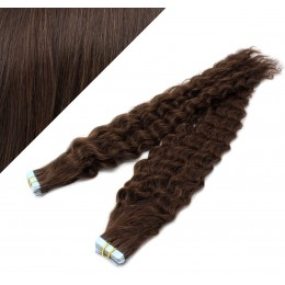 Vlasy pre metódu Tapex / Tape Hair / Tape IN 50cm kučeravé - tmavo hnedé