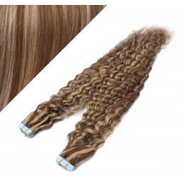 Vlasy pre metódu Tapex / Tape Hair / Tape IN 50cm kučeravé - tmavý melír