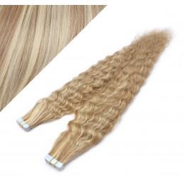 Vlasy pre metódu Tapex / Tape Hair / Tape IN 50cm kučeravé - svetlý melír