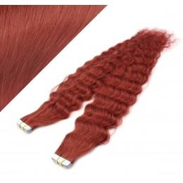 Vlasy pre metódu Tapex / Tape Hair / Tape IN 50cm kučeravé - medená