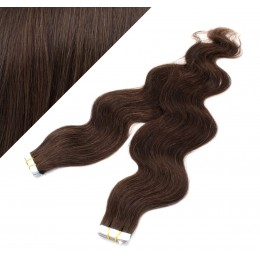 Vlasy pre metódu Tapex / Tape Hair / Tape IN 60cm vlnité - tmavo hnedé