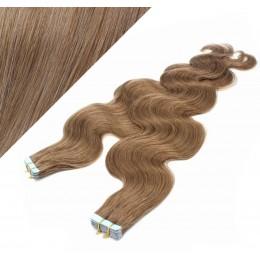Vlasy pre metódu Tapex / Tape Hair / Tape IN 60cm vlnité - svetlo hnedé