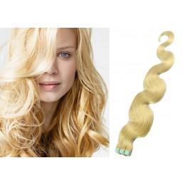 Vlasy pre metódu Tapex / Tape Hair / Tape IN 60cm vlnité - najsvetlejšia blond