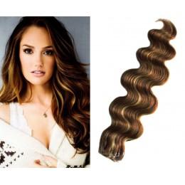 Vlasy pre metódu Tapex / Tape Hair / Tape IN 60cm vlnité - tmavý melír