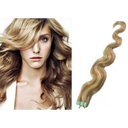 Vlasy pre metódu Tapex / Tape Hair / Tape IN 60cm vlnité - svetlý melír