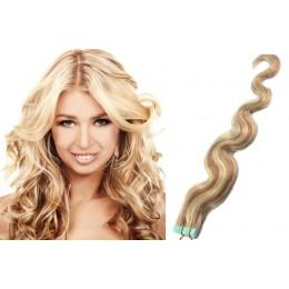 Vlasy pre metódu Tapex / Tape Hair / Tape IN 60cm vlnité - platina / svetlo hnedá