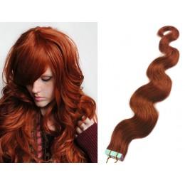Vlasy pre metódu Tapex / Tape Hair / Tape IN 60cm vlnité - medená