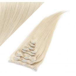 Clip in vlasy 73 cm 100% ľudské - REMY 140g - PLATINA