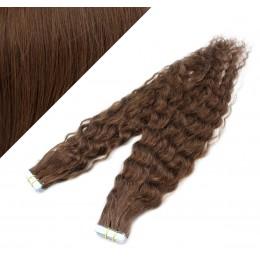 Vlasy pre metódu Tapex / Tape Hair / Tape IN 60cm kučeravé - stredne hnedé