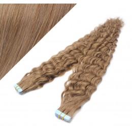 Vlasy pre metódu Tapex / Tape Hair / Tape IN 60cm kučeravé - svetlo hnedé