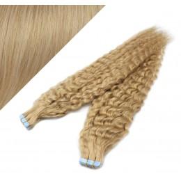 Vlasy pre metódu Tapex / Tape Hair / Tape IN 60cm kučeravé - prírodná blond