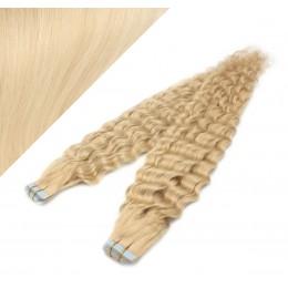 Vlasy pre metódu Tapex / Tape Hair / Tape IN 60cm kučeravé - najsvetlejšia blond