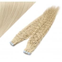 Vlasy pre metódu Tapex / Tape Hair / Tape IN 60cm kučeravé - platina
