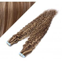 Vlasy pre metódu Tapex / Tape Hair / Tape IN 60cm kučeravé - tmavý melír