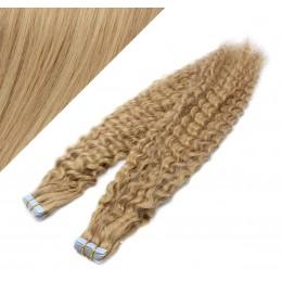 Vlasy pre metódu Tapex / Tape Hair / Tape IN 60cm kučeravé - prírodná / svetlejšia blond