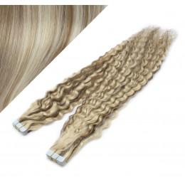 Vlasy pre metódu Tapex / Tape Hair / Tape IN 60cm kučeravé - platina / svetlo hnedá