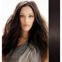 Clip in vlasy 43cm 100% ľudské 100g - prírodná čierna