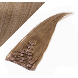 Clip in vlasy 43cm 100% ľudské 100g - svetlo hnedá