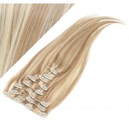 Clip in vlasy 43cm 100% ľudské 100g - svetlý melír