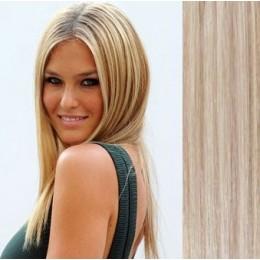 Clip in vlasy 43cm 100% ľudské 100g - platina / svetlo hnedá