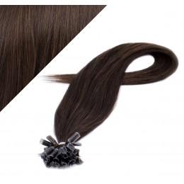 Vlasy európskeho typu na predlžovanie keratínom 40cm - tmavo hnedé
