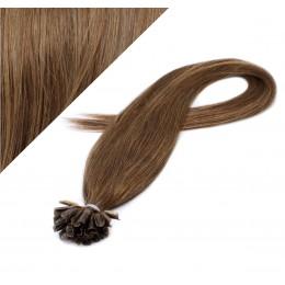 Vlasy európskeho typu na predlžovanie keratínom 40cm - svetlejšia hnedá
