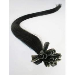 "20"" (50cm) Nail tip / U tip human hair pre bonded extensions – black"
